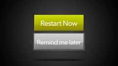 Generic Computer Restart Menu - Remind me Later highlighted - Looping Stock Footage