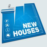 New Houses Shows Property Construction 3d Illustration Stock Illustration