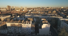 Aerial sliding view of the district of Notting Hill in London Stock Footage