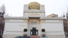 VIENNA, AUSTRIA Steadicam shot of the Secession building, fine Stock Footage