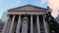 Sliding view of the Royal Exchange in London with Christmas tree Stock Footage