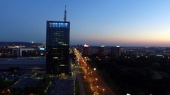 Aerial shot of Usce business center during night Belgrade Serbia Stock Footage
