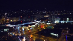 VIENNA, AUSTRIA Illuminated urban railroad station and moving Stock Footage