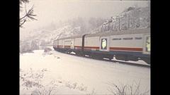 Vintage 16mm film, 1975 railroad, Freedom train pan in snow #2 Stock Footage