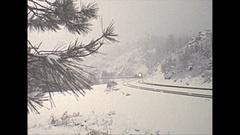 Vintage 16mm film, 1975 railroad, Freedom train pan in snow Stock Footage