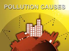 Pollution Causes Means Air Contamination 3d Illustration Piirros