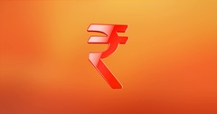 Indian Rupee Red 3d Icon Stock Footage