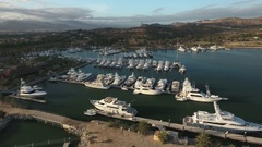 Aerial view of yachts in a tropical marina - San Jose del Cabo, Mexico Stock Footage