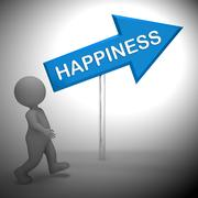 Happiness Sign Shows Joy And Cheer 3d Rendering Stock Illustration