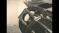 Vintage 16mm film, 1938 Coal mine surface, mechanized dragger, detail Stock Footage