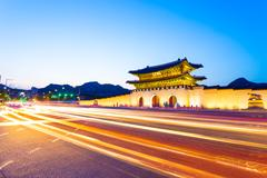 Gyeongbokgung Entrance Dusk Headlights Streaking H Stock Photos