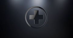 Medical Cross Black 3d Icon Stock Footage