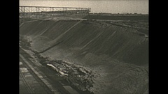 Vintage 16mm film, 1938 Coal mine surface, big pan shot Stock Footage