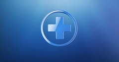 Medical Cross Blue 3d Icon Stock Footage