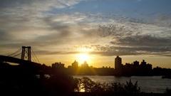 New York City Williamsburg Bridge Sunrise Time Lapse Stock Footage