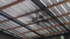Turned on vintage ceiling electric fan Stock Footage