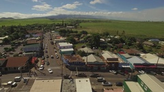 Small Old Town. Pai'a Town - Main Street - Fly Over Stock Footage
