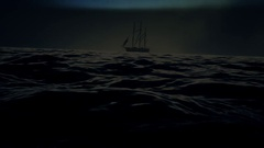 A Sailing Ship in a Middle of a Big Storm Stock Footage
