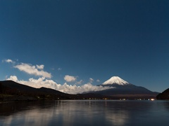 Time-lapse footage of clouds and starry sky over Mount Fuji from Lake Yamanaka, Stock Footage