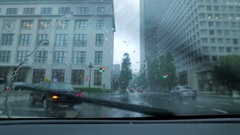 Shot from inside a car driving in Tokyo during a Summer typhoon, Tokyo, Japan Arkistovideo
