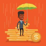 Businessman insurance agent with umbrella Stock Illustration