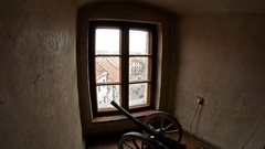 Old cannon in front of the window Arkistovideo