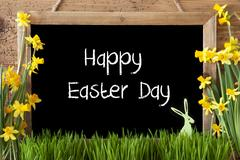 Narcissus, Bunny, Text Happy Easter Day Stock Photos