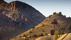 Old industrial gold mining hoist near Virginia City, Nevada Stock Photos