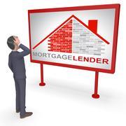 Mortgage Lender Means Home Loan 3d Rendering Piirros