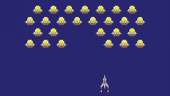 Space arcade video game animation concept. Pixel art style ufos and spaceship Stock Footage