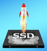 Solid state drive or ssd with a speed boost rocket Stock Illustration