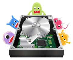 Inside of a internal harddisk with a virus computer Stock Illustration