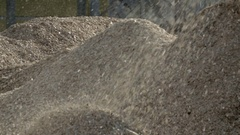 Wood chips piling up for export Stock Footage