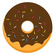 Chocolate frosted ring doughnut Stock Illustration