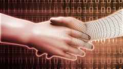 Business Handshake Abstract with Futuristic Background Art Stock Footage