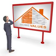 Home Values Represents Selling Price 3d Rendering Stock Illustration