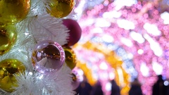Christmas balls decorate the city. The tunnel of glowing lights Stock Footage