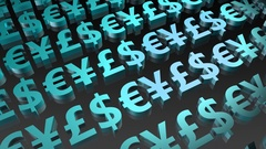 Scrolling Currency Symbols Loop of Foreign Currencies Stock Footage