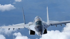 Combat Aircraft in Flight. MiG 29 Fulcrum of Bulgarian Air Force Video UltraHD Stock Footage