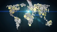 Businesswoman touching  gears making global world map connect technology.1. Stock Footage