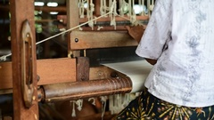 Old women weaving with the traditional loom Stock Footage
