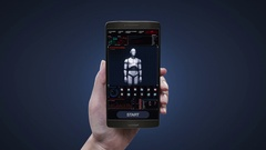 Touching robot control application on mobile, 3D robot body in digital interface Stock Footage