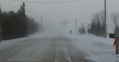 POV dashcam treacherous winter driving on snow covered roads in Ontario Canada Stock Footage