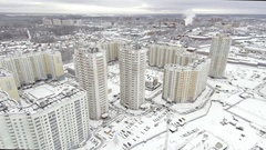 Aerial view of multi-storey houses district Stock Footage
