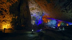 Thien Cung Cave (Heavenly Palace Cave) by Halong Bay, Vietnam Stock Footage