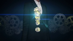 Businesswoman touching screen, Steel golden gears making Exclamation mark shape. Stock Footage