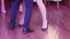 Feet of dancers dancing at a party gala or a wedding 93 Stock Footage