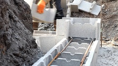 New technology of construction base, the initial stage  of a detached house Stock Footage