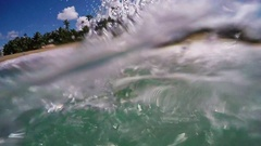 POV Catching Wave Body Surfing At A Paradisiac Beach In Slow Motion Stock Footage