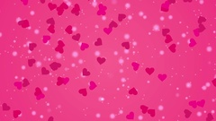 Footage Falling hearts on the pink background Stock Footage